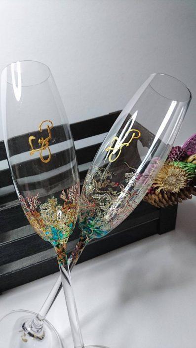 Envoltorio para regalo. Copas decoradas en cristal. Arte en Cristal