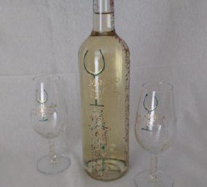Botella y copas Modelo Arrecife y Fantasía