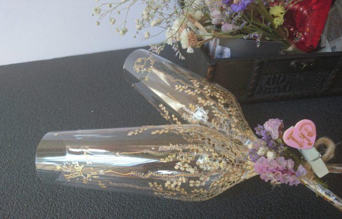 Brindis Nupcial Modelo Trepadora dorado y blanco