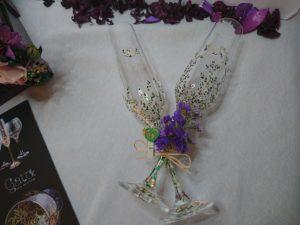 Copas Flauta M. Trepadora colores verdes y morados regalo