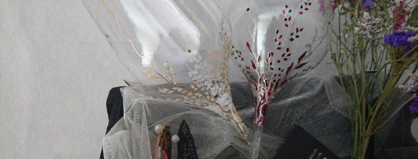 Modelo Trepadora copa de vino rojo y blanco