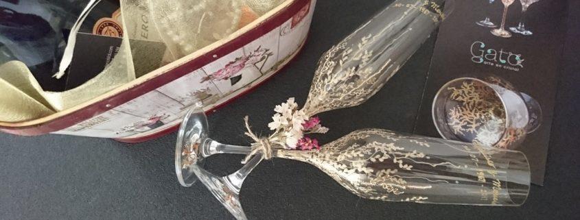 Modelo Trepadora copas Flauta Dorados y blancos