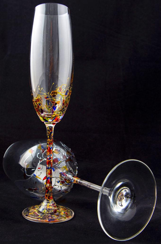 Combinado Juego de copas decoradas a mano Ártico