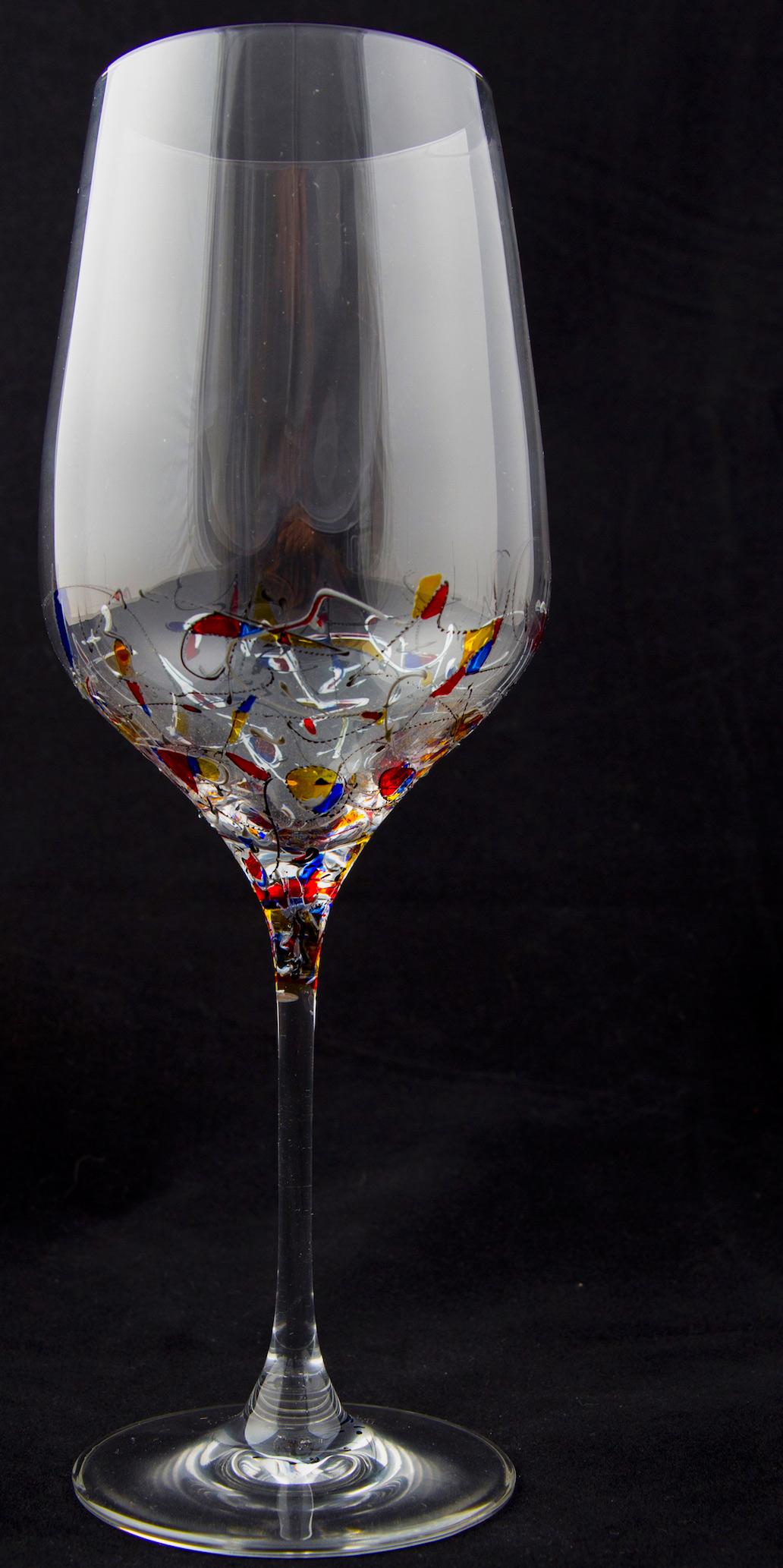 juego de copas decoradas a mano fantas a arte en cristal