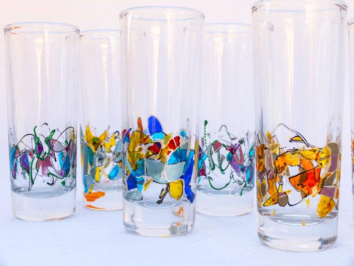 Juego de copas decoradas a mano Modelo Fantasía Vasos largos